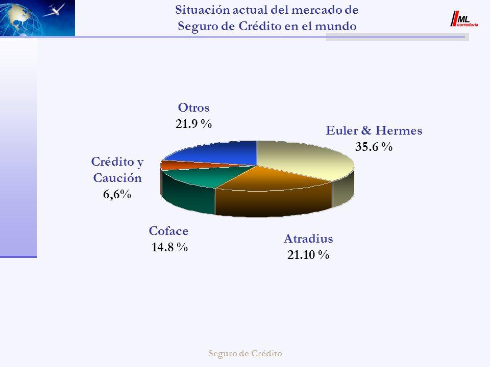 Seguro de Crédito Otros 21.9 % Crédito y Caución 6,6% Atradius 21.10 % Coface 14.8 % Euler & Hermes 35.6 % Situación actual del mercado de Seguro de C