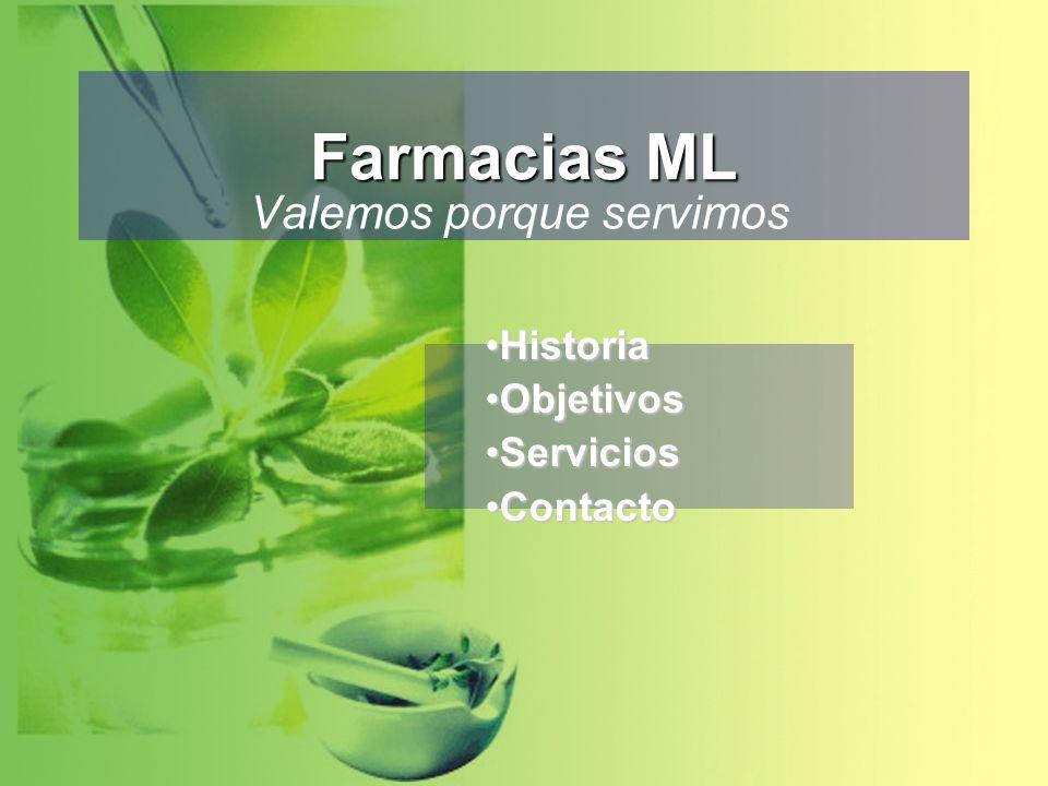 Farmacias ML Valemos porque servimos HistoriaHistoria ObjetivosObjetivos ServiciosServicios ContactoContacto