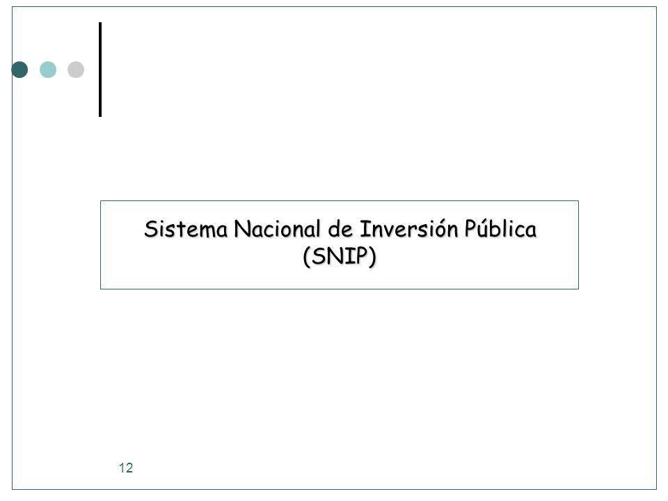 12 Sistema Nacional de Inversión Pública (SNIP)