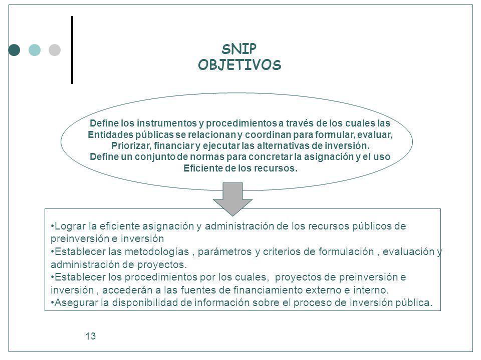 13 SNIP OBJETIVOS Lograr la eficiente asignación y administración de los recursos públicos de preinversión e inversión Establecer las metodologías, pa
