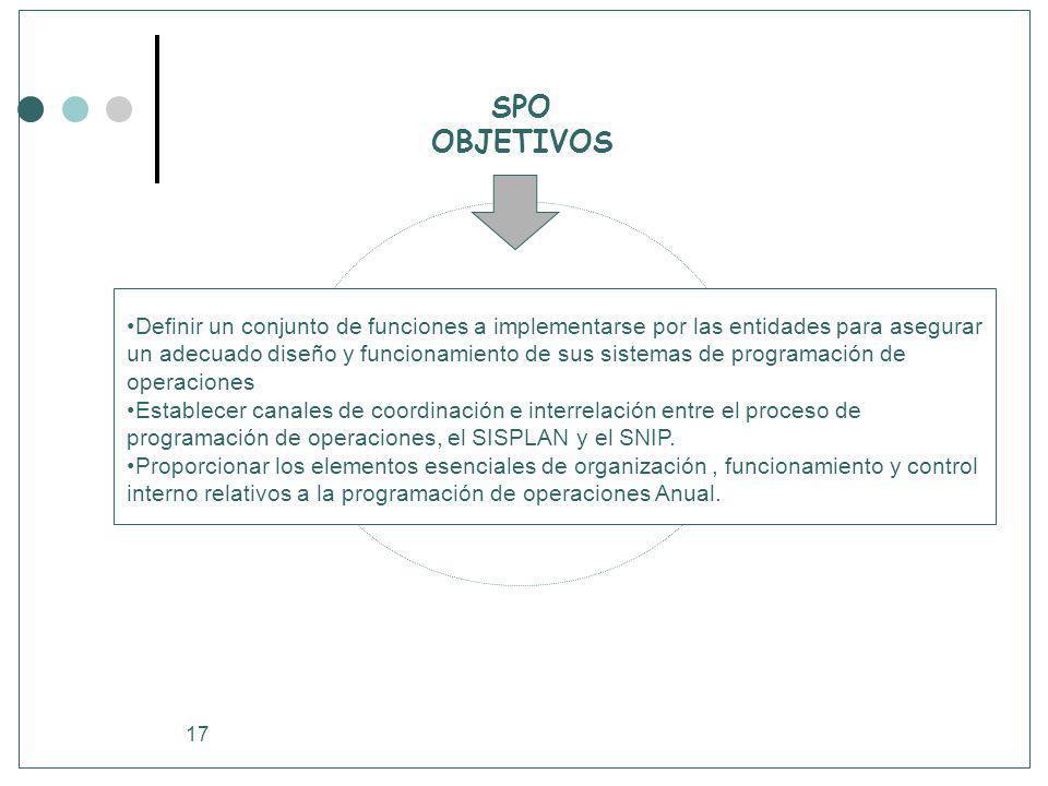 17 SPO OBJETIVOS Definir un conjunto de funciones a implementarse por las entidades para asegurar un adecuado diseño y funcionamiento de sus sistemas