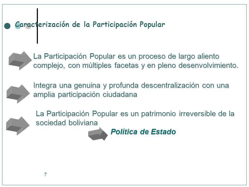 7 Caracterización de la Participación Popular La Participación Popular es un proceso de largo aliento complejo, con múltiples facetas y en pleno desen