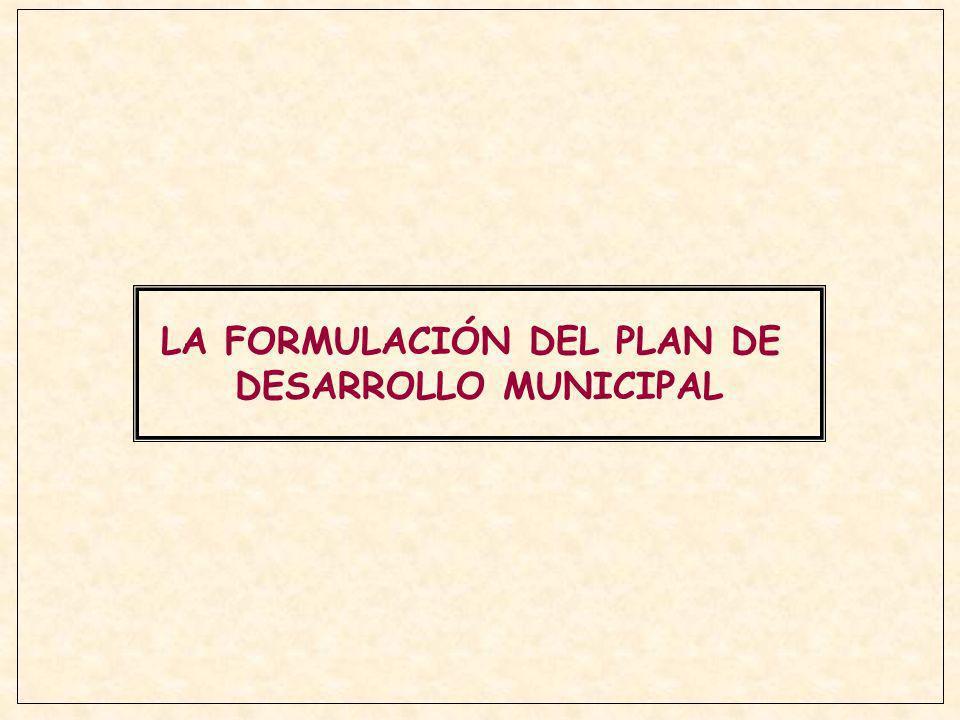 LA FORMULACIÓN DEL PLAN DE DESARROLLO MUNICIPAL