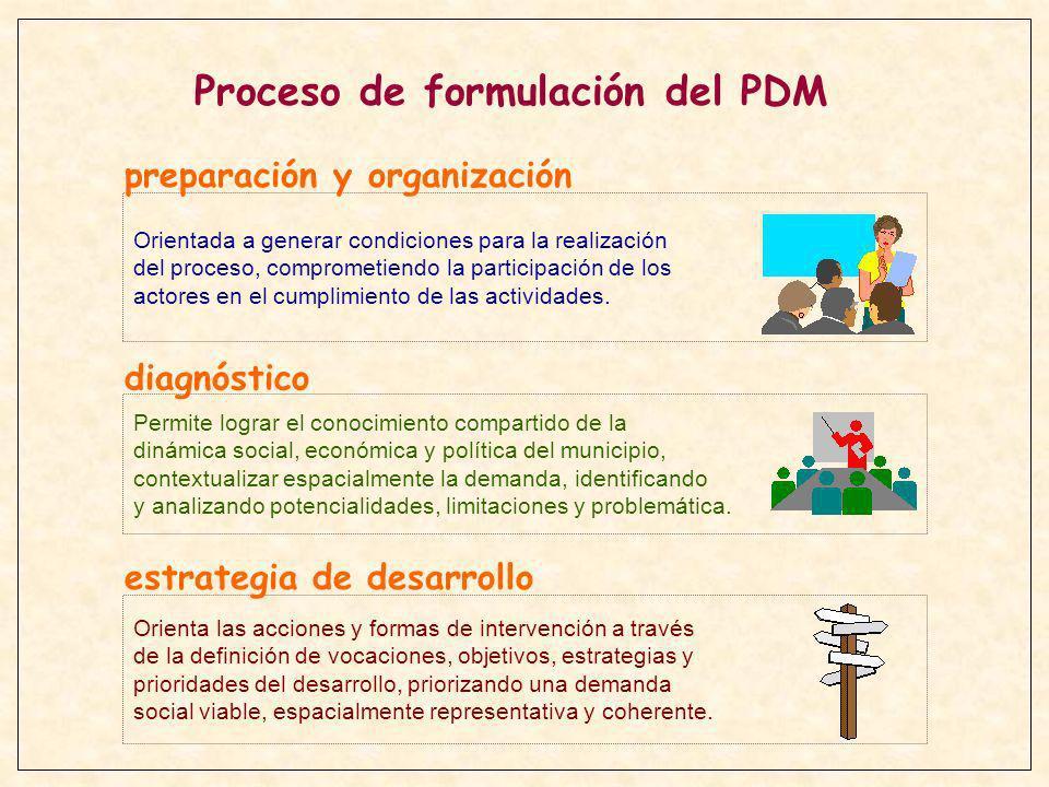PREPARACION Y ORGANIZACION DIAGNOSTICO ESTRATEGIA DE DESARROLLO - IDENTIFICACION DE ACTORES - PROMOCION DEL PROCESO Y CONFORMACION DEL EQUIPO TECNICO - ORGANIZACION DEL PROCESO - CAPACITACION A FACILITADORES - REALIZACION DE AUTODIAGNOSTICOS - LEVANTAMIENTO DE INFORMACION COMPLEMENTARIA - SISTEMATIZACION Y ANALISIS TECNICO DE LA INFORMACION - VALIDACION DE LA INFORMACION - ANALISIS DE LA SITUACION MUNICIPAL - DEFINICION DE LA VISION ESTRATEGICA - DEFINICION DE LA DEMANDA MUNICIPAL - PROGRAMACION QUINQUENAL Y ESTRATEGIA DE EJECUCION Principales actividades en la formulación del PDM