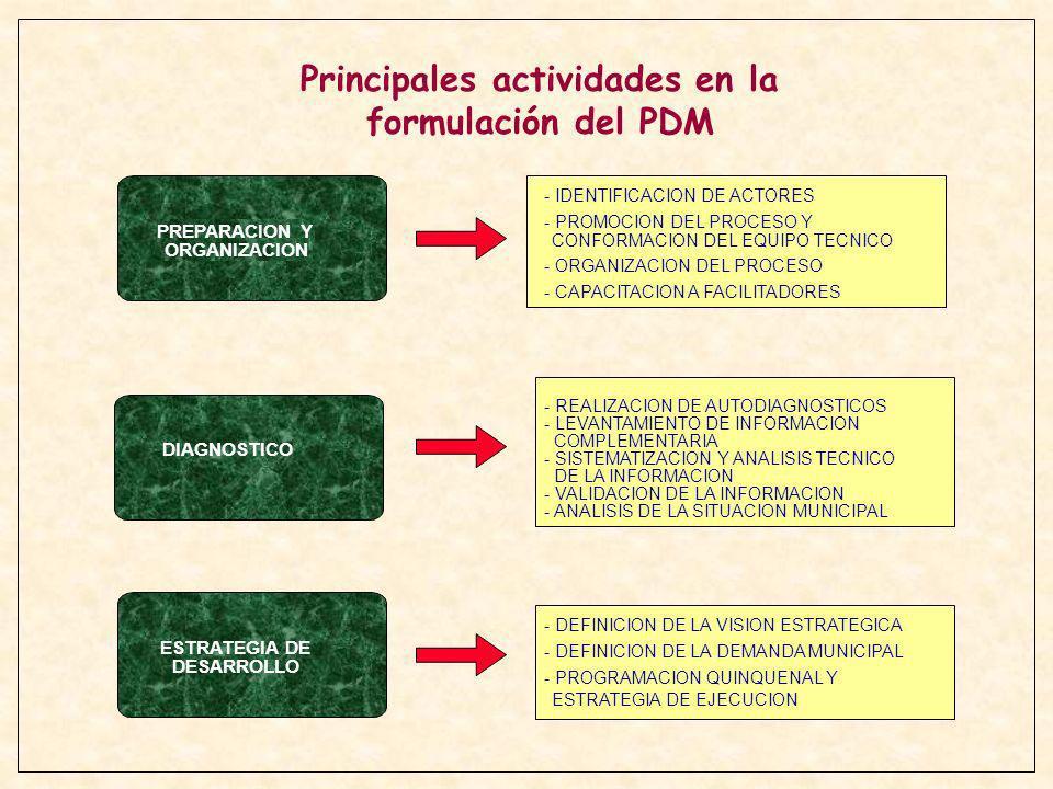 PREPARACION Y ORGANIZACION DIAGNOSTICO ESTRATEGIA DE DESARROLLO - IDENTIFICACION DE ACTORES - PROMOCION DEL PROCESO Y CONFORMACION DEL EQUIPO TECNICO