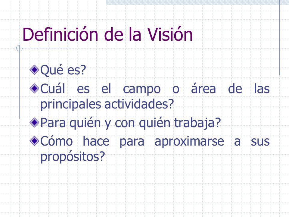 Definición de la Visión Qué es? Cuál es el campo o área de las principales actividades? Para quién y con quién trabaja? Cómo hace para aproximarse a s