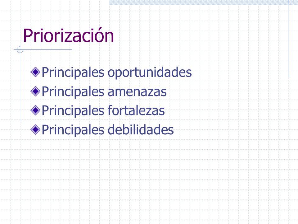 Priorización Principales oportunidades Principales amenazas Principales fortalezas Principales debilidades