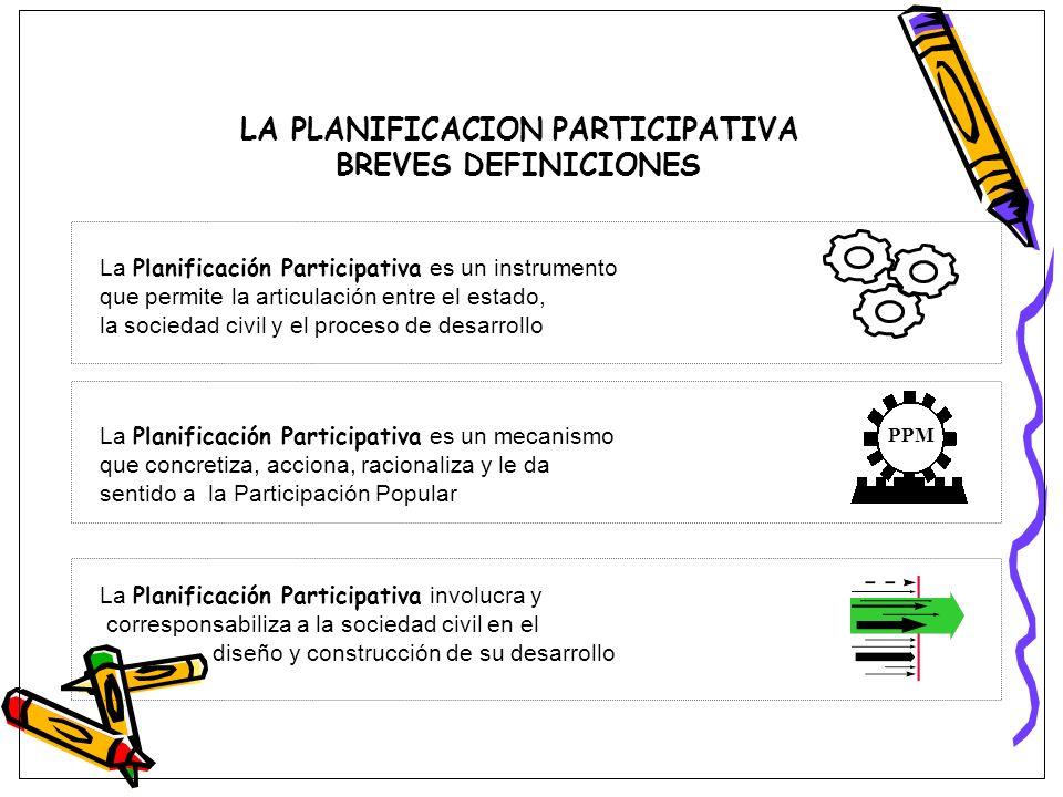LA PLANIFICACION PARTICIPATIVA BREVES DEFINICIONES La Planificación Participativa es un instrumento que permite la articulación entre el estado, la so