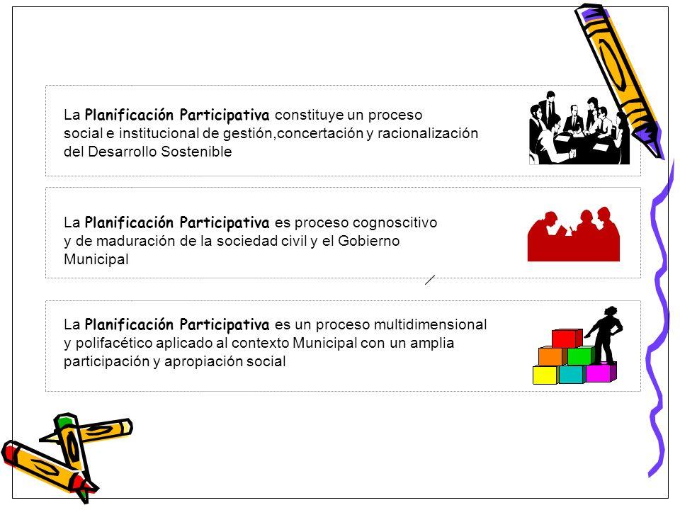 La Planificación Participativa constituye un proceso social e institucional de gestión,concertación y racionalización del Desarrollo Sostenible La Pla