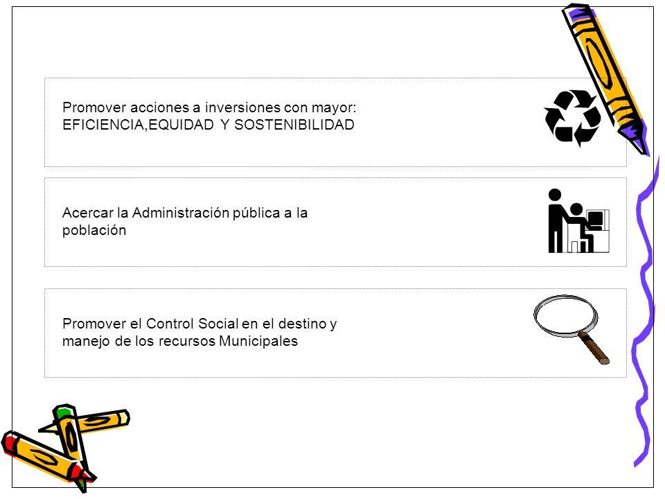 Promover acciones a inversiones con mayor: EFICIENCIA,EQUIDAD Y SOSTENIBILIDAD Acercar la Administración pública a la población Promover el Control So