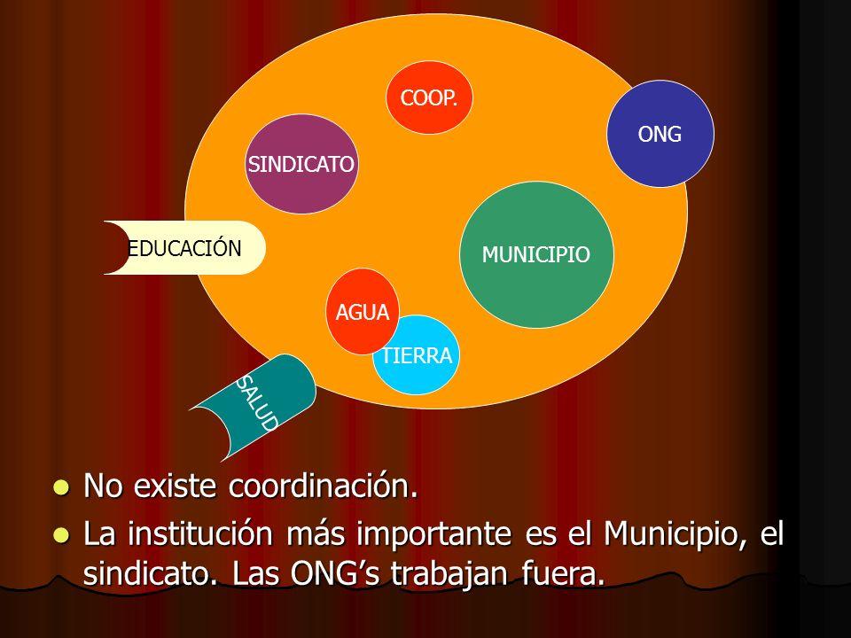 COOP. ONG MUNICIPIO SINDICATO TIERRA AGUA EDUCACIÓN SALUD No existe coordinación. No existe coordinación. La institución más importante es el Municipi