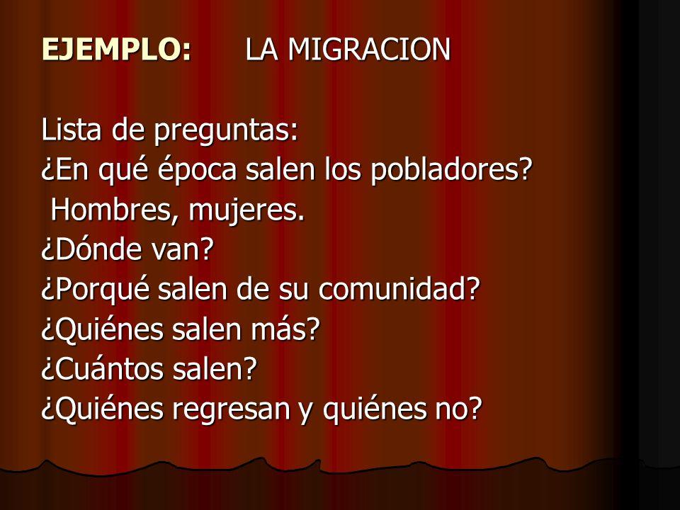 EJEMPLO:LA MIGRACION Lista de preguntas: ¿En qué época salen los pobladores? Hombres, mujeres. Hombres, mujeres. ¿Dónde van? ¿Porqué salen de su comun
