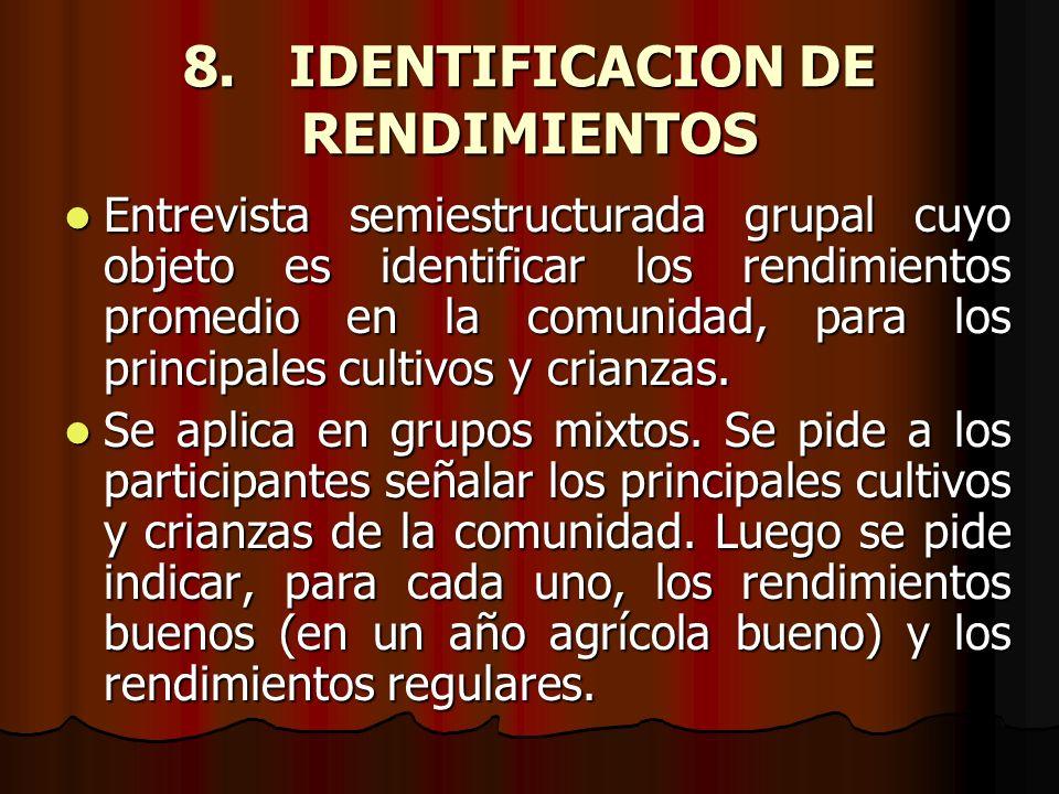 8.IDENTIFICACION DE RENDIMIENTOS Entrevista semiestructurada grupal cuyo objeto es identificar los rendimientos promedio en la comunidad, para los pri