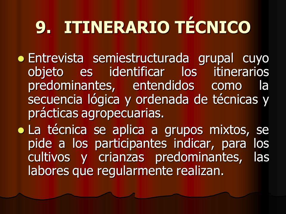 9.ITINERARIO TÉCNICO Entrevista semiestructurada grupal cuyo objeto es identificar los itinerarios predominantes, entendidos como la secuencia lógica