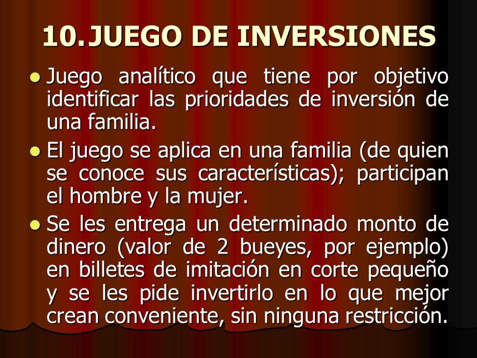 10.JUEGO DE INVERSIONES Juego analítico que tiene por objetivo identificar las prioridades de inversión de una familia. Juego analítico que tiene por