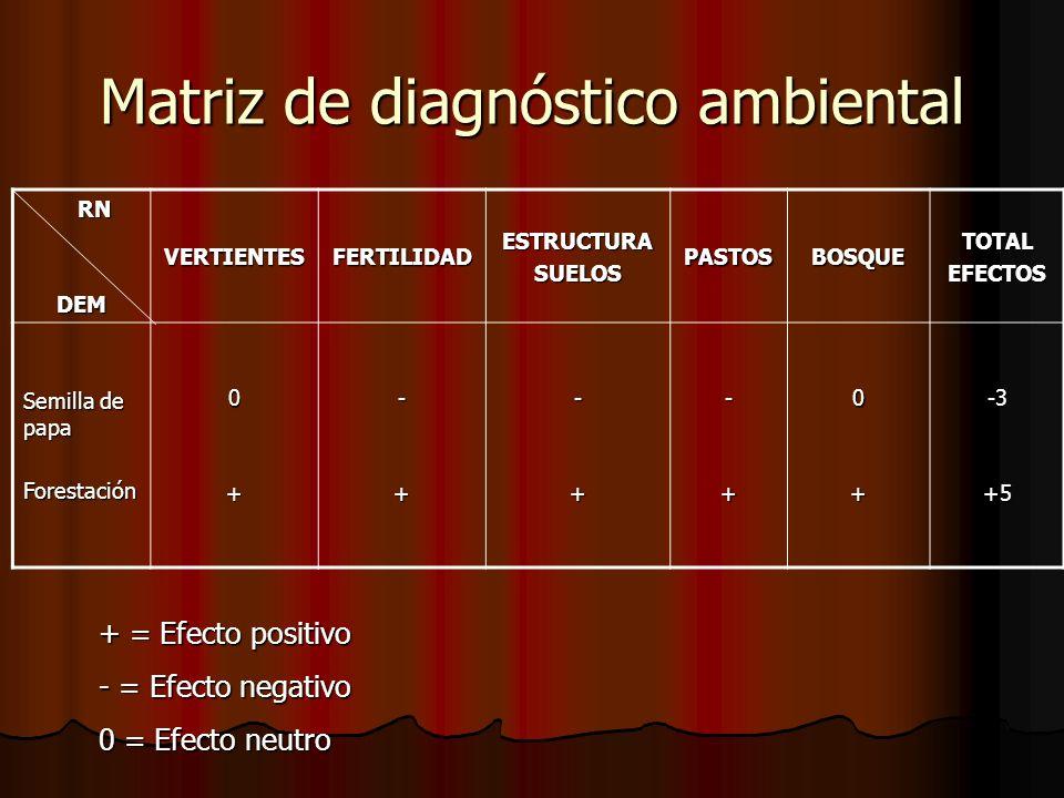 Matriz de diagnóstico ambiental RN RNDEM VERTIENTESFERTILIDADESTRUCTURASUELOSPASTOSBOSQUETOTALEFECTOS Semilla de papa Forestación0+-+-+-+0+-3+5 + = Ef