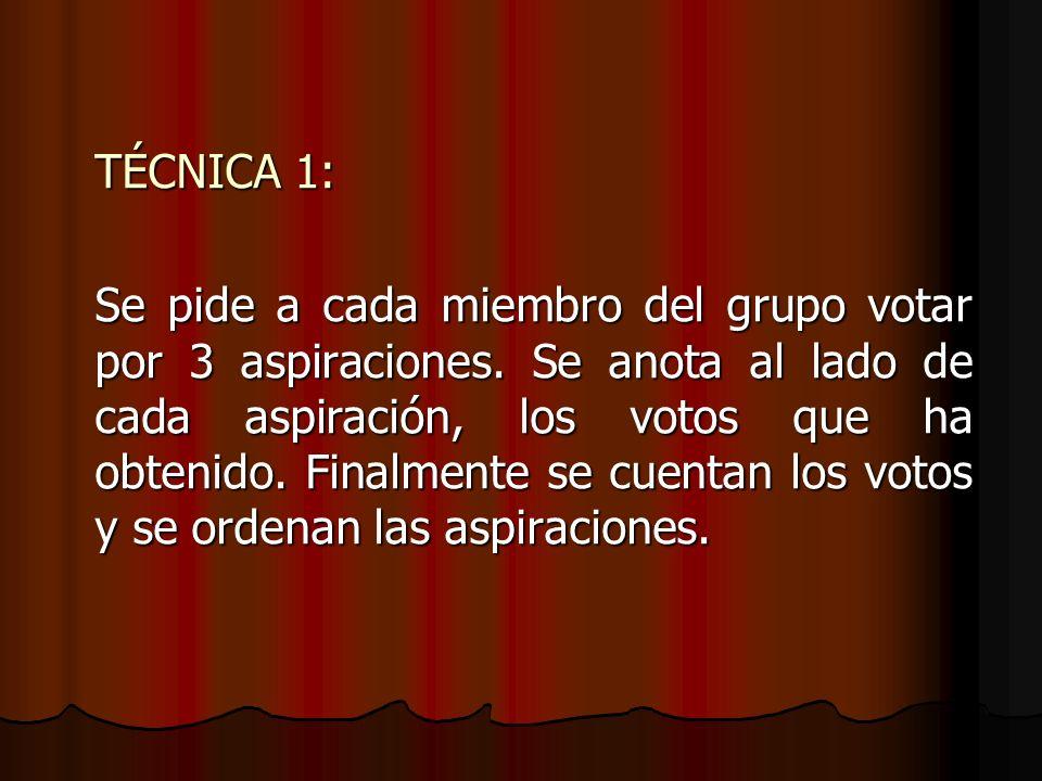 TÉCNICA 1: Se pide a cada miembro del grupo votar por 3 aspiraciones. Se anota al lado de cada aspiración, los votos que ha obtenido. Finalmente se cu