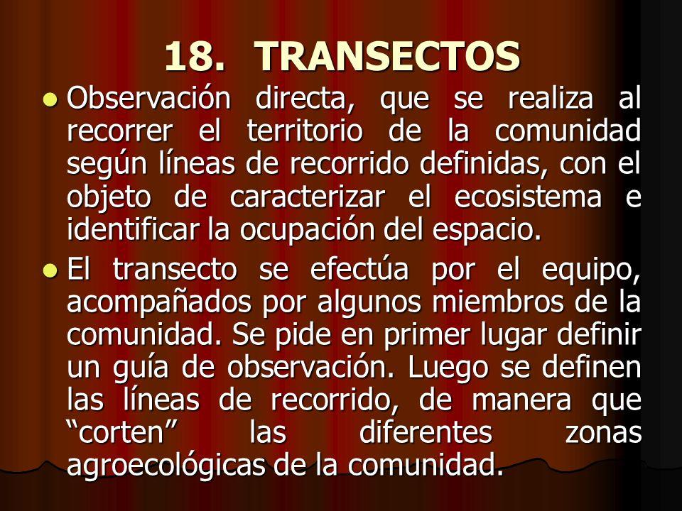 18. TRANSECTOS Observación directa, que se realiza al recorrer el territorio de la comunidad según líneas de recorrido definidas, con el objeto de car