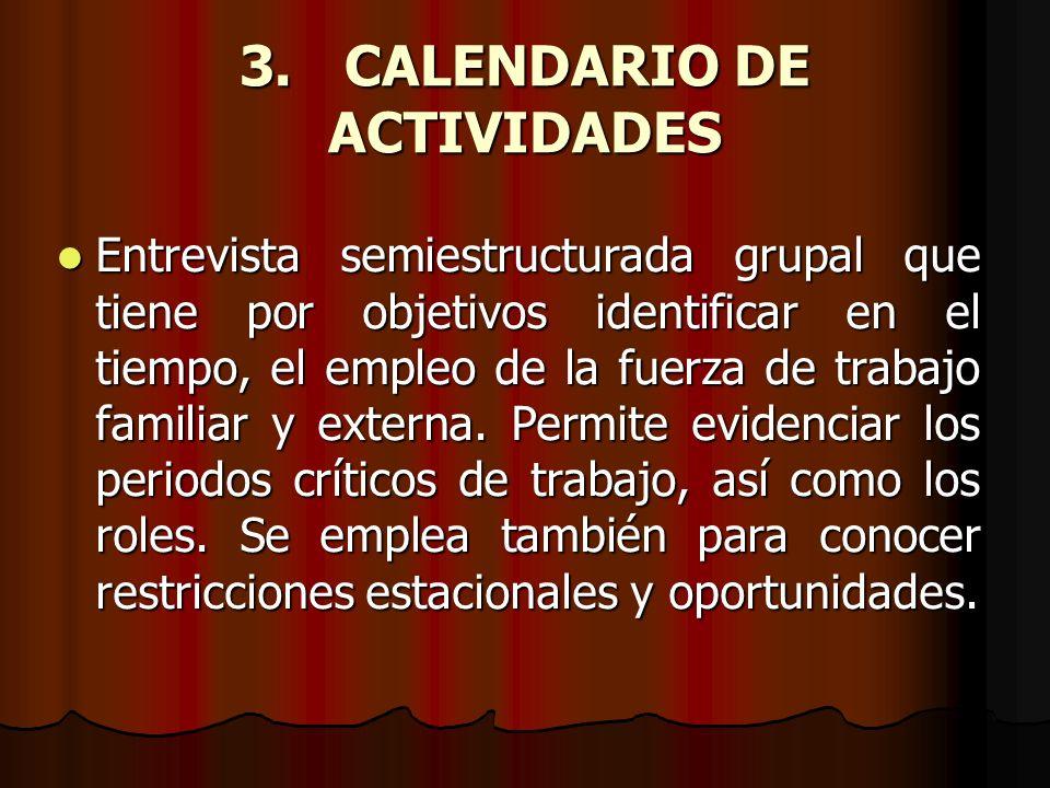 3.CALENDARIO DE ACTIVIDADES Entrevista semiestructurada grupal que tiene por objetivos identificar en el tiempo, el empleo de la fuerza de trabajo fam