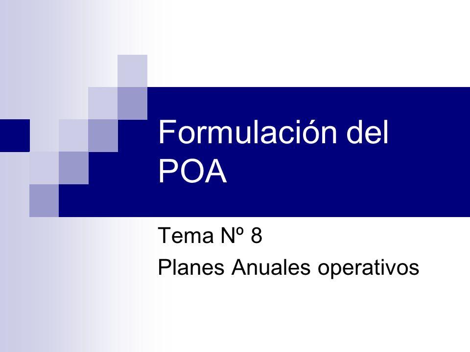 Formulación del POA Tema Nº 8 Planes Anuales operativos