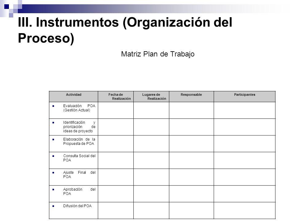 III. Instrumentos (Organización del Proceso) ActividadFecha de Realización Lugares de Realización ResponsableParticipantes Evaluación POA (Gestión Act
