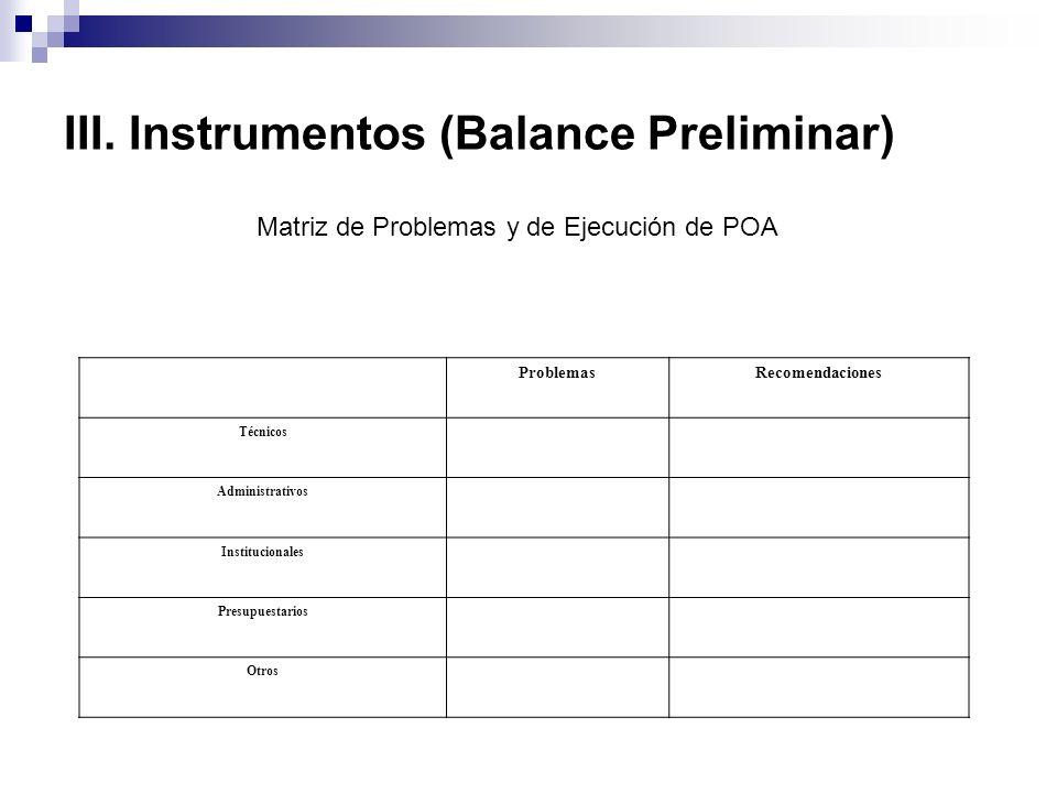 III. Instrumentos (Balance Preliminar) ProblemasRecomendaciones Técnicos Administrativos Institucionales Presupuestarios Otros Matriz de Problemas y d
