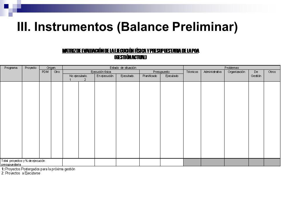 III. Instrumentos (Balance Preliminar)