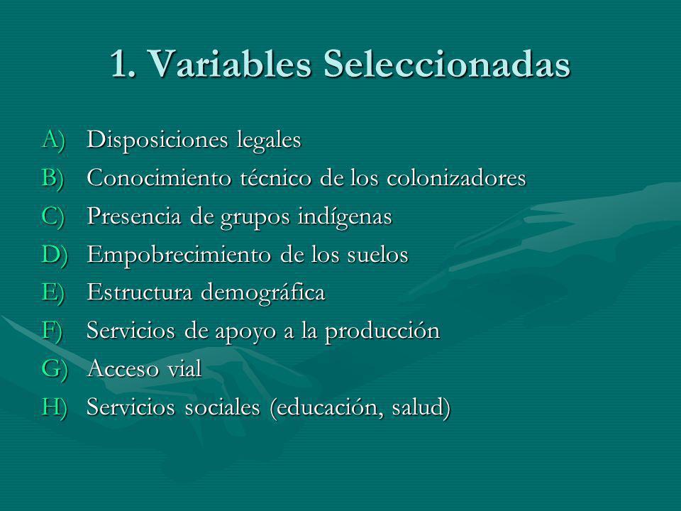 1. Variables Seleccionadas A)Disposiciones legales B)Conocimiento técnico de los colonizadores C)Presencia de grupos indígenas D)Empobrecimiento de lo