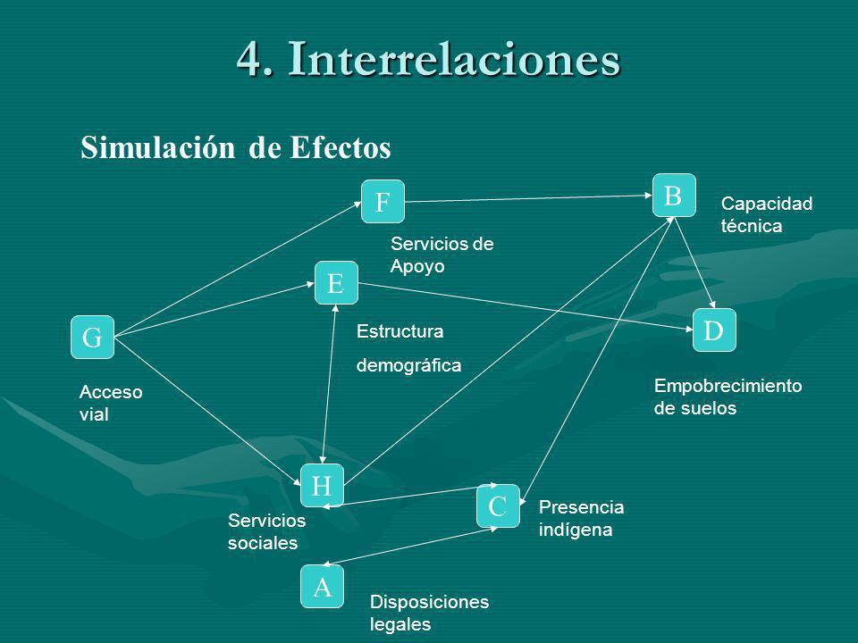 4. Interrelaciones Simulación de Efectos F B G A C H E D Acceso vial Servicios de Apoyo Capacidad técnica Empobrecimiento de suelos Disposiciones lega