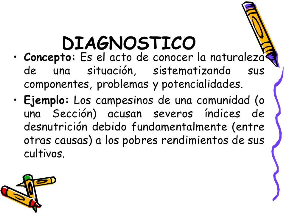 DIAGNOSTICO Concepto: Es el acto de conocer la naturaleza de una situación, sistematizando sus componentes, problemas y potencialidades.