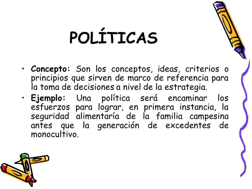 POLÍTICAS Concepto: Son los conceptos, ideas, criterios o principios que sirven de marco de referencia para la toma de decisiones a nivel de la estrategia.