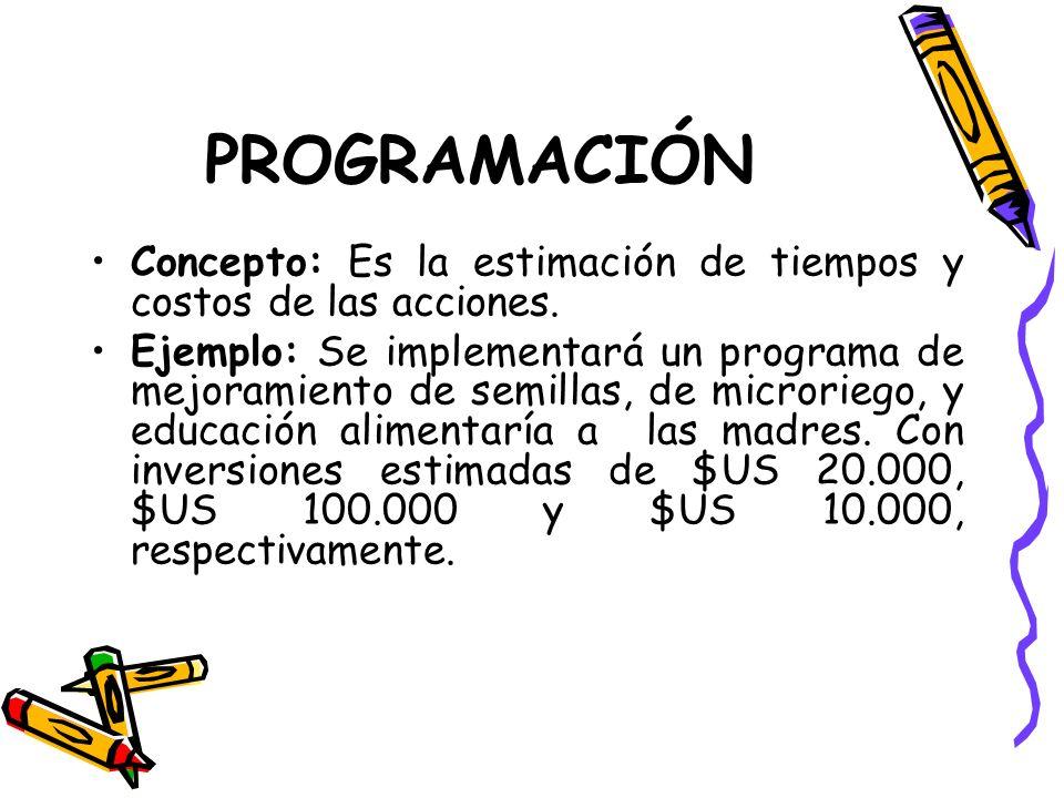 PROGRAMACIÓN Concepto: Es la estimación de tiempos y costos de las acciones.