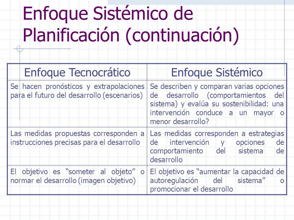Enfoque Sistémico de Planificación (continuación) Enfoque TecnocráticoEnfoque Sistémico Se hacen pronósticos y extrapolaciones para el futuro del desa