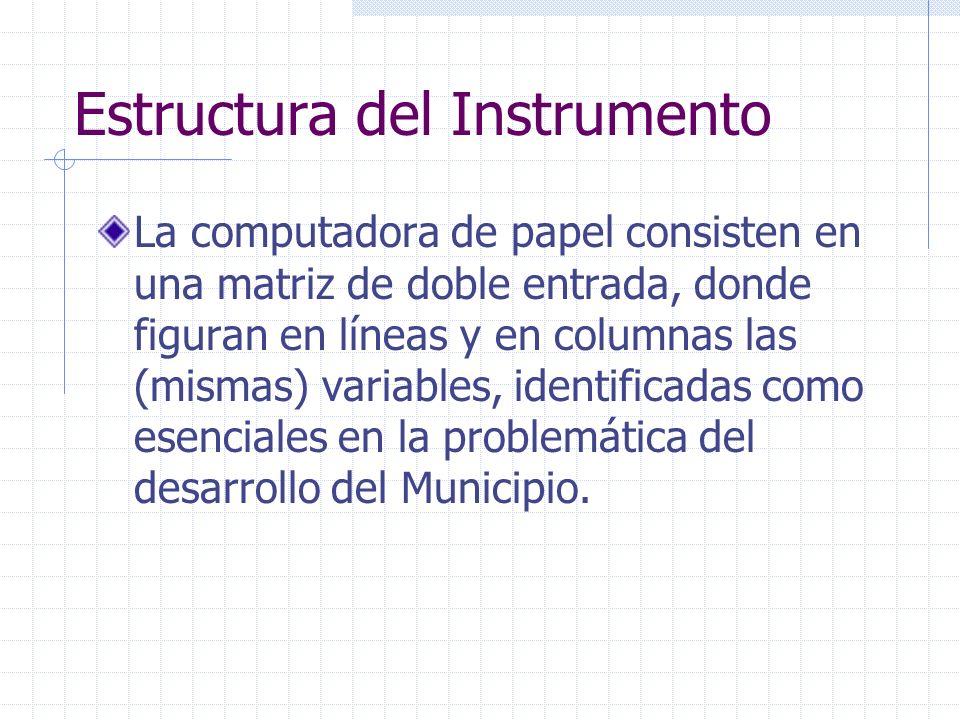 Estructura del Instrumento La computadora de papel consisten en una matriz de doble entrada, donde figuran en líneas y en columnas las (mismas) variab