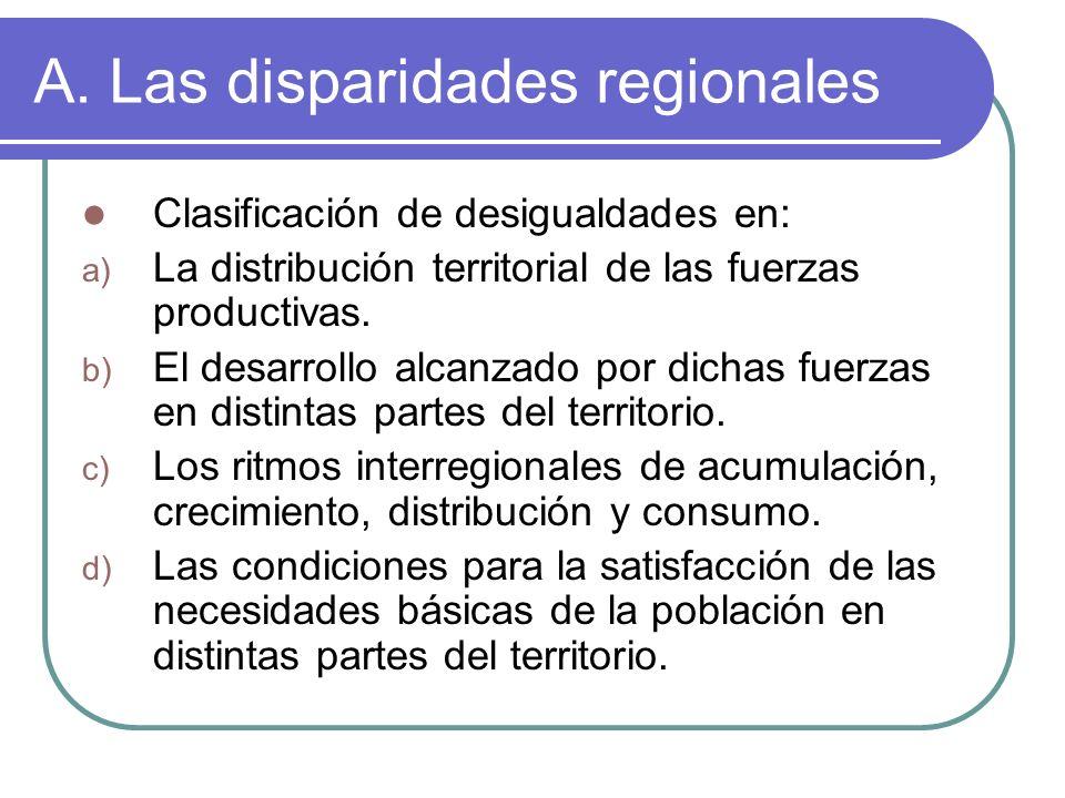 A. Las disparidades regionales Clasificación de desigualdades en: a) La distribución territorial de las fuerzas productivas. b) El desarrollo alcanzad