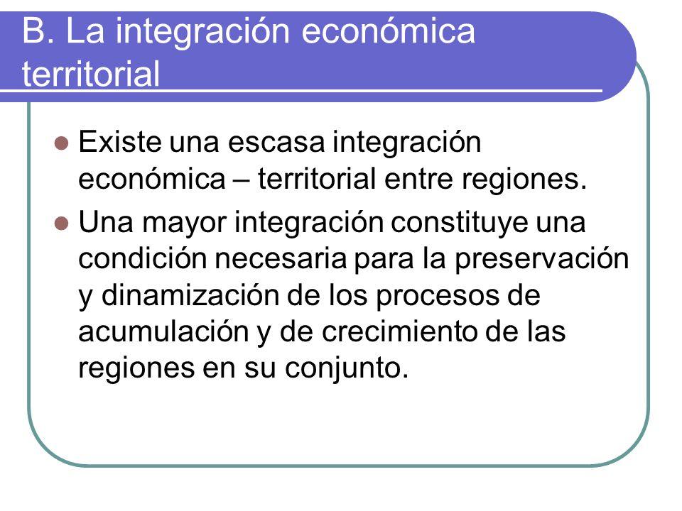 B. La integración económica territorial Existe una escasa integración económica – territorial entre regiones. Una mayor integración constituye una con