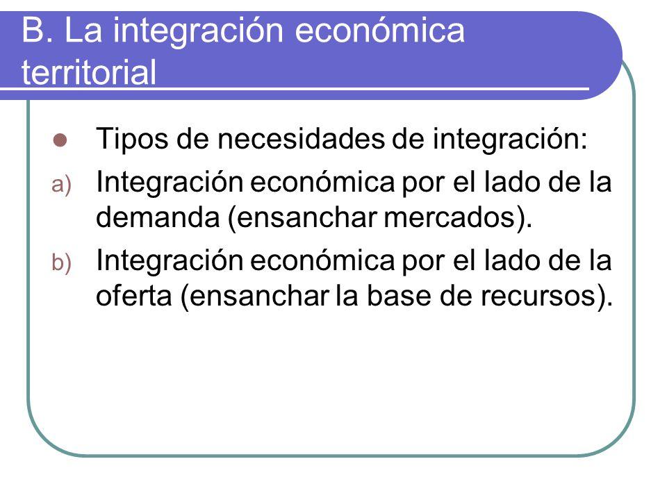 B. La integración económica territorial Tipos de necesidades de integración: a) Integración económica por el lado de la demanda (ensanchar mercados).