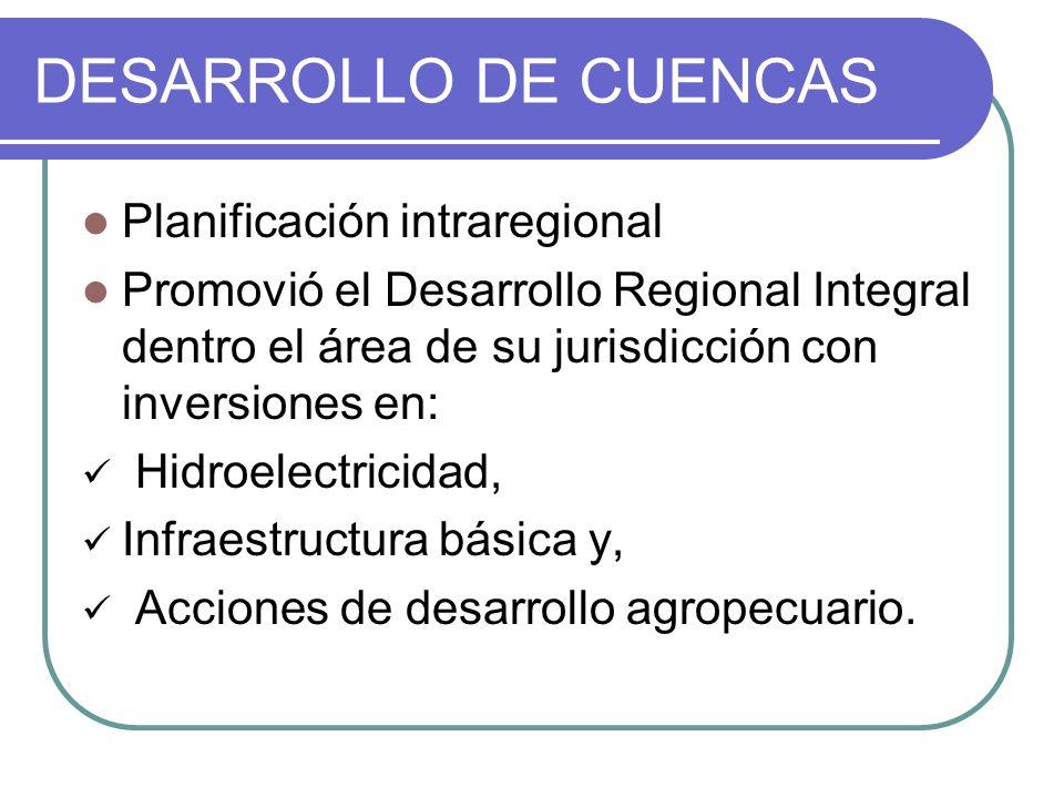 DESARROLLO DE CUENCAS Planificación intraregional Promovió el Desarrollo Regional Integral dentro el área de su jurisdicción con inversiones en: Hidro