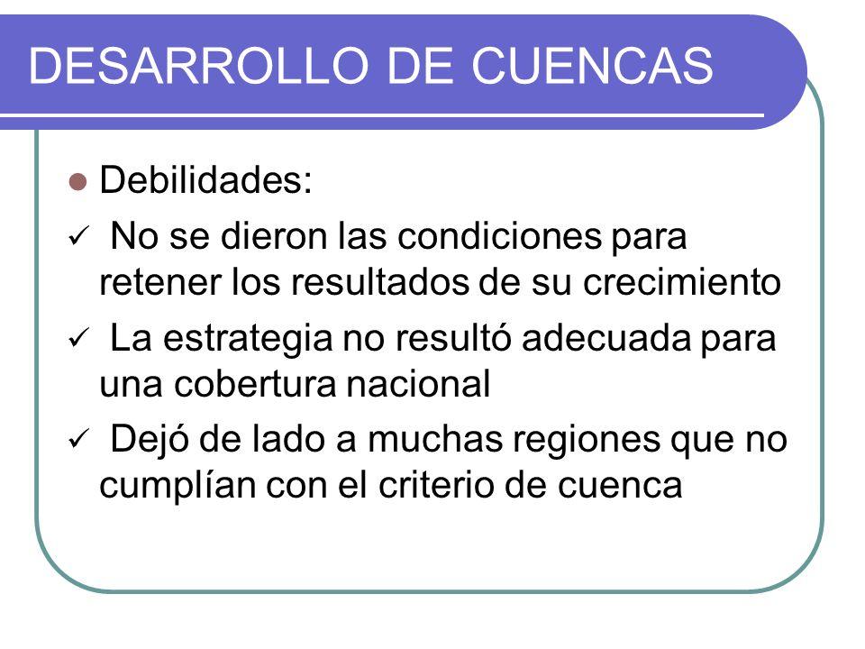 DESARROLLO DE CUENCAS Debilidades: No se dieron las condiciones para retener los resultados de su crecimiento La estrategia no resultó adecuada para u