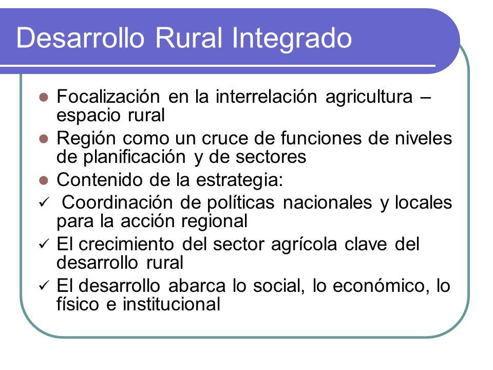 Desarrollo Rural Integrado Focalización en la interrelación agricultura – espacio rural Región como un cruce de funciones de niveles de planificación