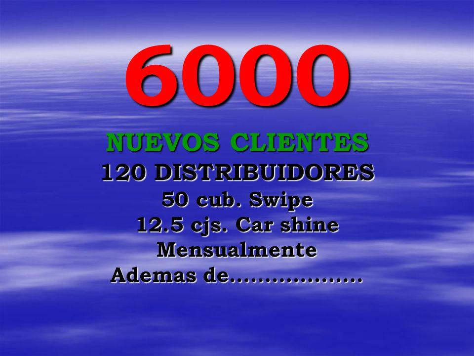 6000 NUEVOS CLIENTES 120 DISTRIBUIDORES 50 cub.Swipe 12.5 cjs.