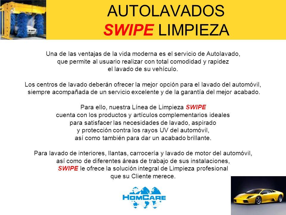 AUTOLAVADOS SWIPE LIMPIEZA LAVADO DE ALFOMBRAS DEL AUTOMOVIL SOLUCION PURPURA 1.SE PREPARA UNA SOLUCION PURPURA DE LA SIGUIENTE MANERA: A UNA SOLUCION NORMAL DE SWIPE, AGREGUE LA MISMA CANTIDAD DE Somthin´else (30 ml.) EN LA PISTOLA ROCIADORA SWIPE 2.SE ASPIRA EL AREA QUE SE DESEA LAVAR CON ASPIRADORA NILFISK- ADVANCE 3.SE ROCIA LA SOLUCION PURPURA SOBRE LAS MANCHAS PRIMERAMENTE Y SE TALLA EN FORMA DE ESTRELLA ( * ) CON CEPILLO SWIPE 4.SE RETIRA LA MUGRE Y LA HUMEDAD CON LA TOALLITA SWIPE Y SE REPITE LA OPERACIÓN HASTA ELIMINAR TODAS LAS MANCHAS 5.AL RESTO DE LA ALFOMBRA QUE TIENE SOLO MUGRE, SE DA SHAMPOO CON ESPUMA DE LA SOLUCION PURPURA (se agita para hacer espuma), PARA DAR UN ACABADO UNIFORME.