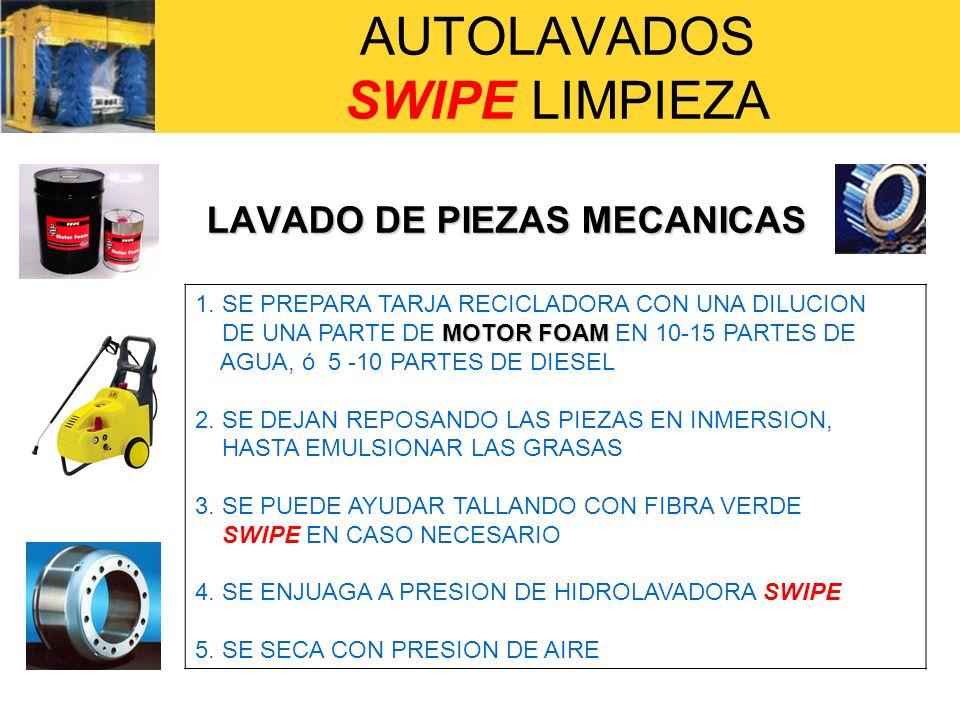 AUTOLAVADOS SWIPE LIMPIEZA LAVADO DE PIEZAS MECANICAS LAVADO DE PIEZAS MECANICAS 1. SE PREPARA TARJA RECICLADORA CON UNA DILUCION MOTOR FOAM DE UNA PA