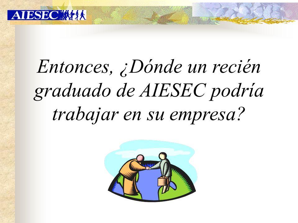 Entonces, ¿Dónde un recién graduado de AIESEC podría trabajar en su empresa?