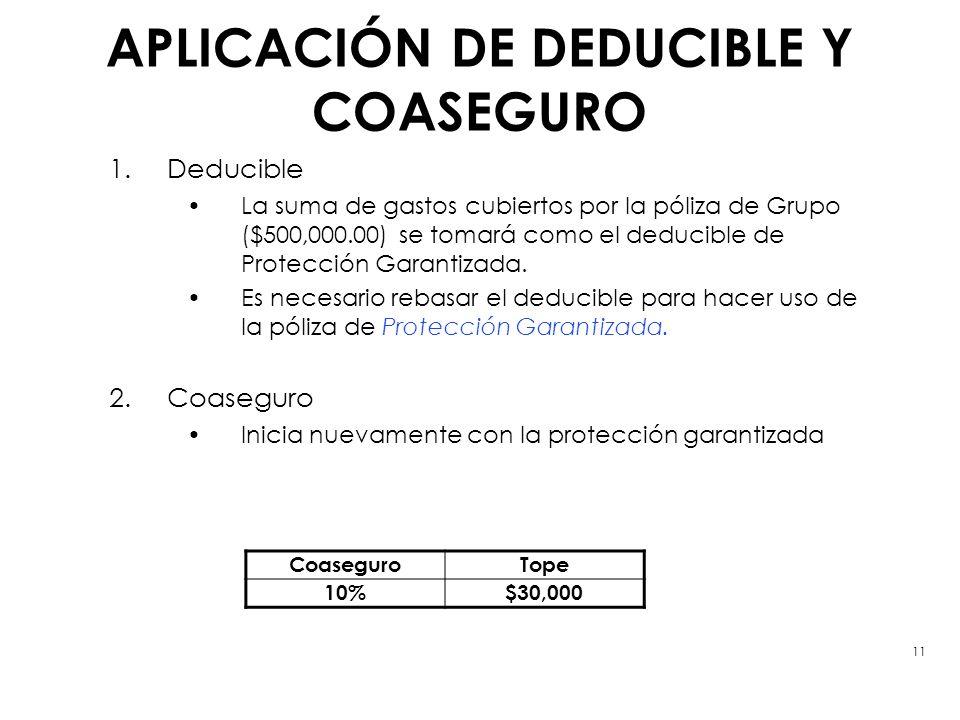 APLICACIÓN DE DEDUCIBLE Y COASEGURO 1.Deducible La suma de gastos cubiertos por la póliza de Grupo ($500,000.00) se tomará como el deducible de Protec