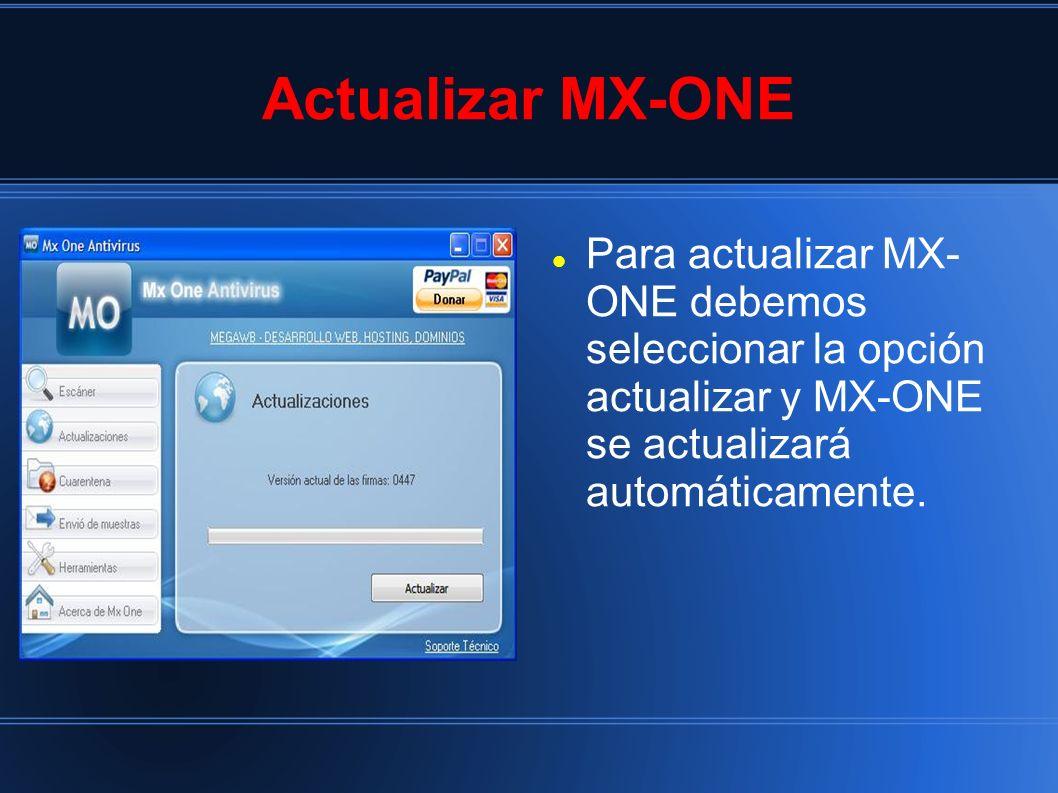 Actualizar MX-ONE Para actualizar MX- ONE debemos seleccionar la opción actualizar y MX-ONE se actualizará automáticamente.