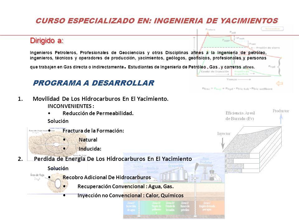 Dirigido a: Ingenieros Petroleros, Profesionales de Geociencias y otras Disciplinas afines a la Ingeniería de petróleo, ingenieros, técnicos y operado