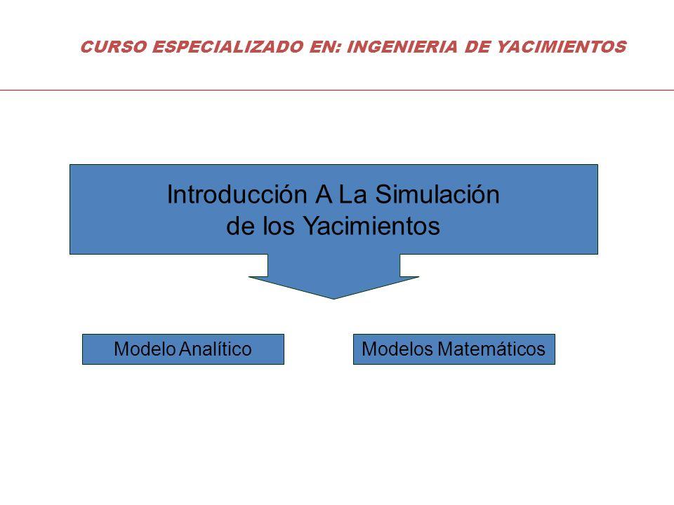 Introducción A La Simulación de los Yacimientos Modelo AnalíticoModelos Matemáticos CURSO ESPECIALIZADO EN: INGENIERIA DE YACIMIENTOS