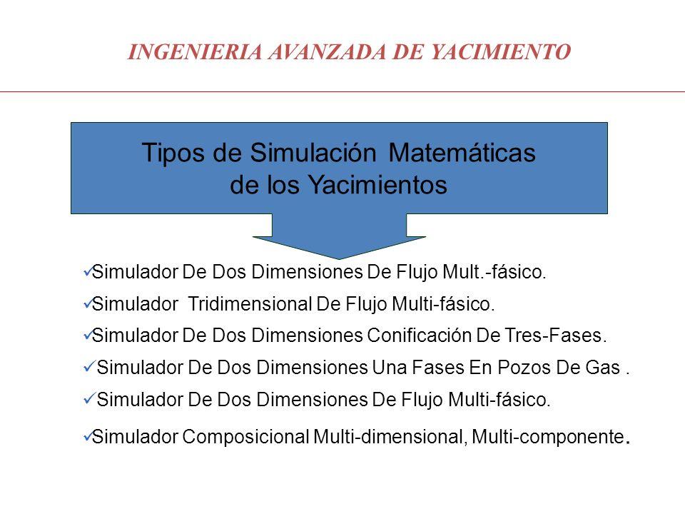 INGENIERIA AVANZADA DE YACIMIENTO Tipos de Simulación Matemáticas de los Yacimientos Simulador De Dos Dimensiones De Flujo Mult.-fásico. Simulador Tri