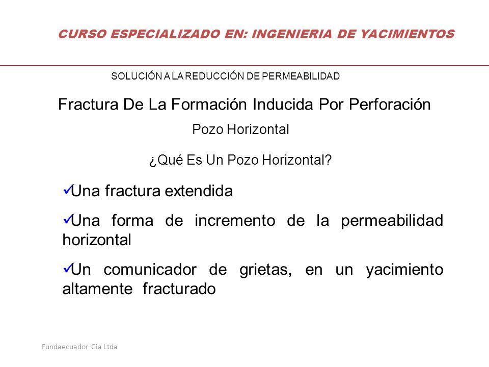 Fundaecuador Cia Ltda Pozo Horizontal ¿Qué Es Un Pozo Horizontal? Una fractura extendida Una forma de incremento de la permeabilidad horizontal Un com